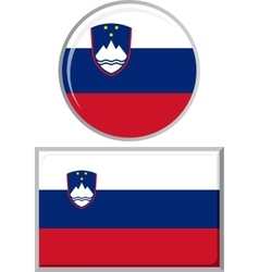 Slovenian round and square icon flag vector