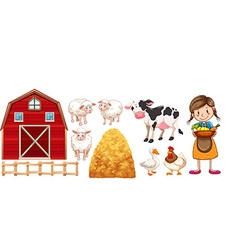 Farmer and farm animals vector