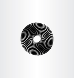 Black circle spiral design element vector