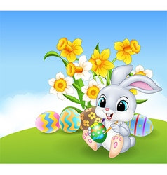 Cute little easter bunny painting an egg vector