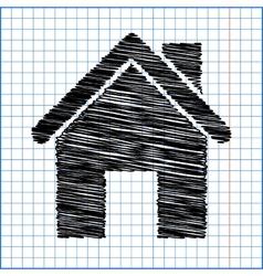 Home icon with pen effect on paper vector