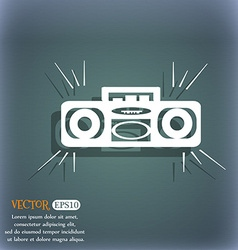 Radio cassette player icon on the blue-green vector