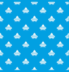 Alien spaceship pattern seamless blue vector