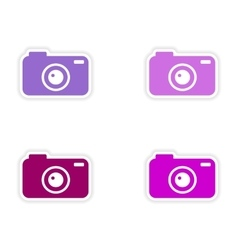 Assembly realistic sticker design on paper camera vector