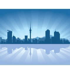 auckland skyline with reflection in water vector image