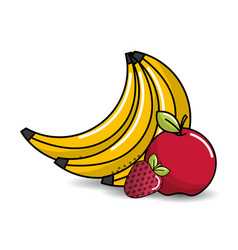 Babanas apple and strawberry fruits icon vector