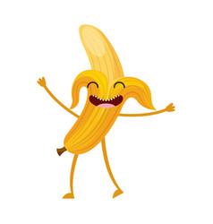 banana fresh fruit kawaii character vector image vector image