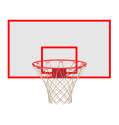 basketball hoop on backboard isolated on white vector image vector image