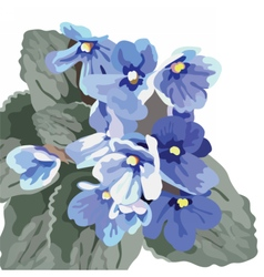 Beautiful watercolor blue flowers vector