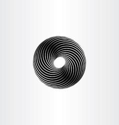 Black circle spiral design element vector