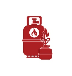 Camping stove with gas bottle icon flat icon vector