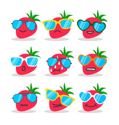 Cartoon strawberry emojis with sunglasses vector