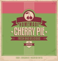 Cherry pie vintage poster vector