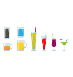 Colorful glass of drink set vector