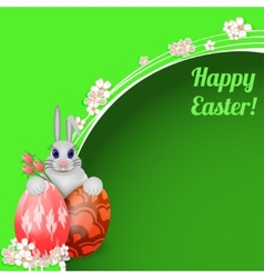 Easter card with rabbit and colored Easter eggs vector image