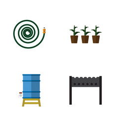 Flat icon dacha set of flowerpot container vector