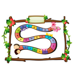 Game template with wooden frame vector