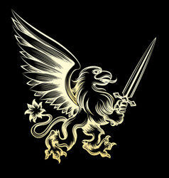 golden heraldy gryphon with sword vector image vector image