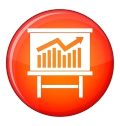 Growing chart presentation icon flat style vector image