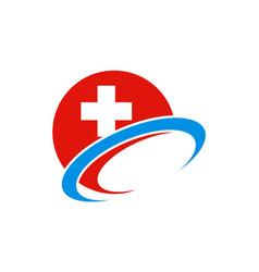 hospital sign cross logo vector image