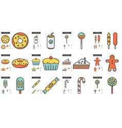 junk food line icon set vector image vector image