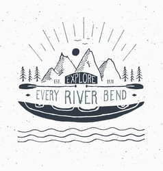 Kayak and canoe vintage label hand drawn sketch vector