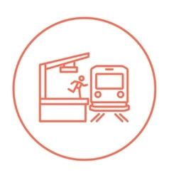 Latecomer man running along the platform to reach vector image vector image