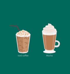 Mocha and iced coffee drinks cartoon vector