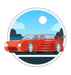 red luxury car icon vector image