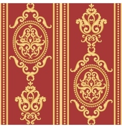 Seamless damask pattern Gold and red texture vector image vector image