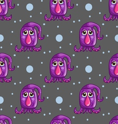 Seamless pattern with cute cartoon monsters-2 vector image vector image