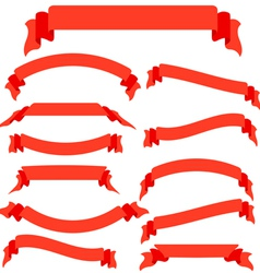 Set red ribbons and banners vector image