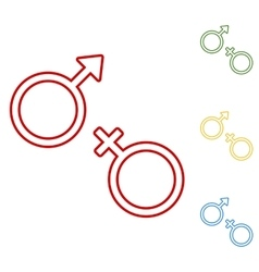 Sex symbol Set of line icons vector image
