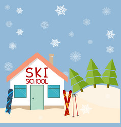 skiing winter season ski school mountains and vector image vector image