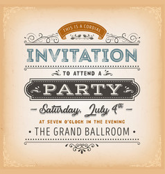 Vintage invitation to a party card vector