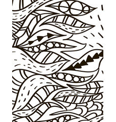 wave leaves coloring book for adult vector image