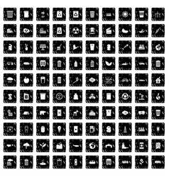 100 ecology icons set grunge style vector