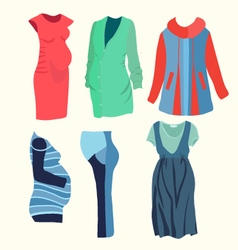 Fashion clothing for stylish pregnant woman vector