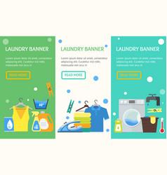 Cartoon laundry banner vecrtical set vector