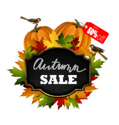 Autumn sale wooden signboard vector