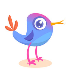 Funny blue bird cartoon vector