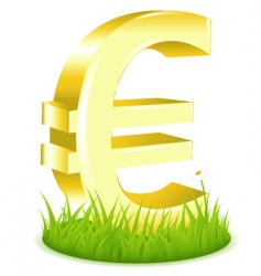 Euro sign on grass vector