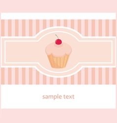 Hand drawn cupcake with pink strips vector image