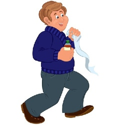 Happy cartoon man walking and holding first aid vector