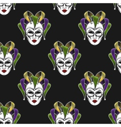Mardi gras mask seamless pattern vector