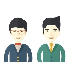 Two businessmen smiling vector