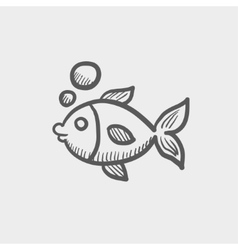 Little fish under water sketch icon vector