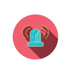 Siren alarm icon alert flashing light sign vector