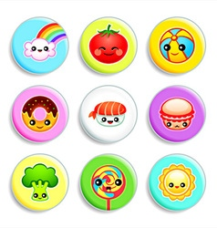 Kawaii badges - set iii vector