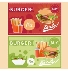 Fast food with burgerfried potatoescola and salad vector